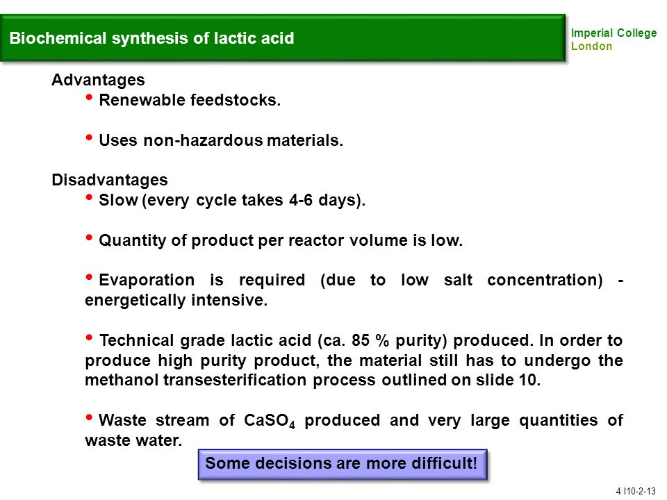 Biochemical synthesis of lactic acid
