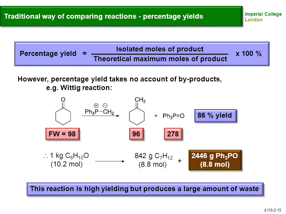 Traditional way of comparing reactions - percentage yields