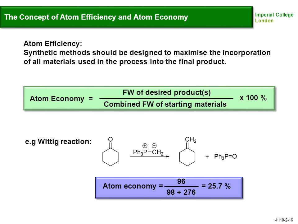 The Concept of Atom Efficiency and Atom Economy