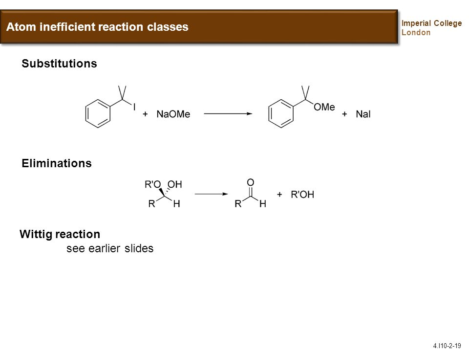 Atom inefficient reaction classes