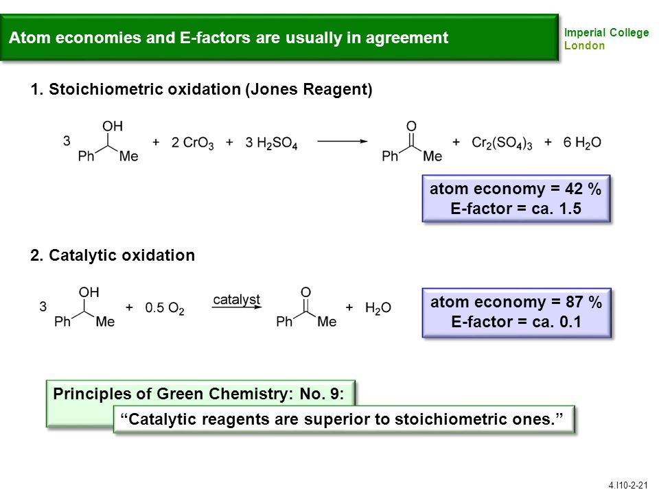 Atom economies and E-factors are usually in agreement