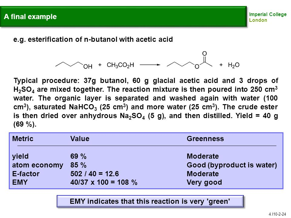 EMY indicates that this reaction is very green