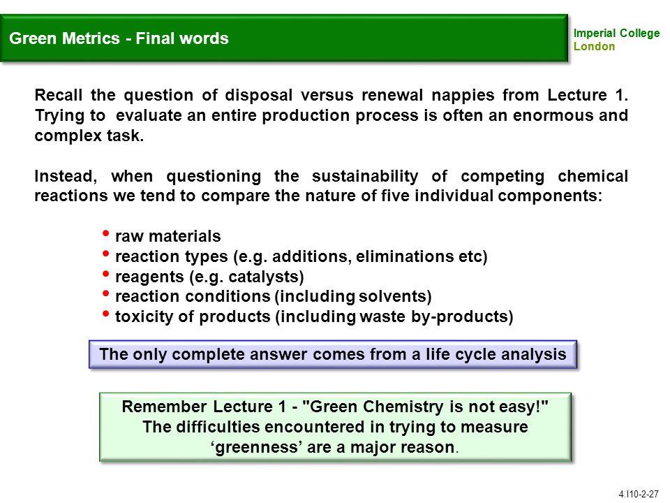 Green Metrics - Final words