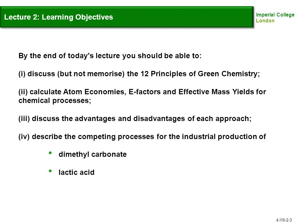 Lecture 2: Learning Objectives