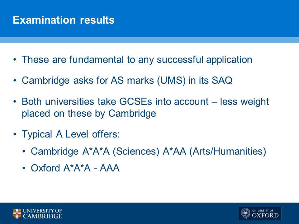 Examination results These are fundamental to any successful application. Cambridge asks for AS marks (UMS) in its SAQ.
