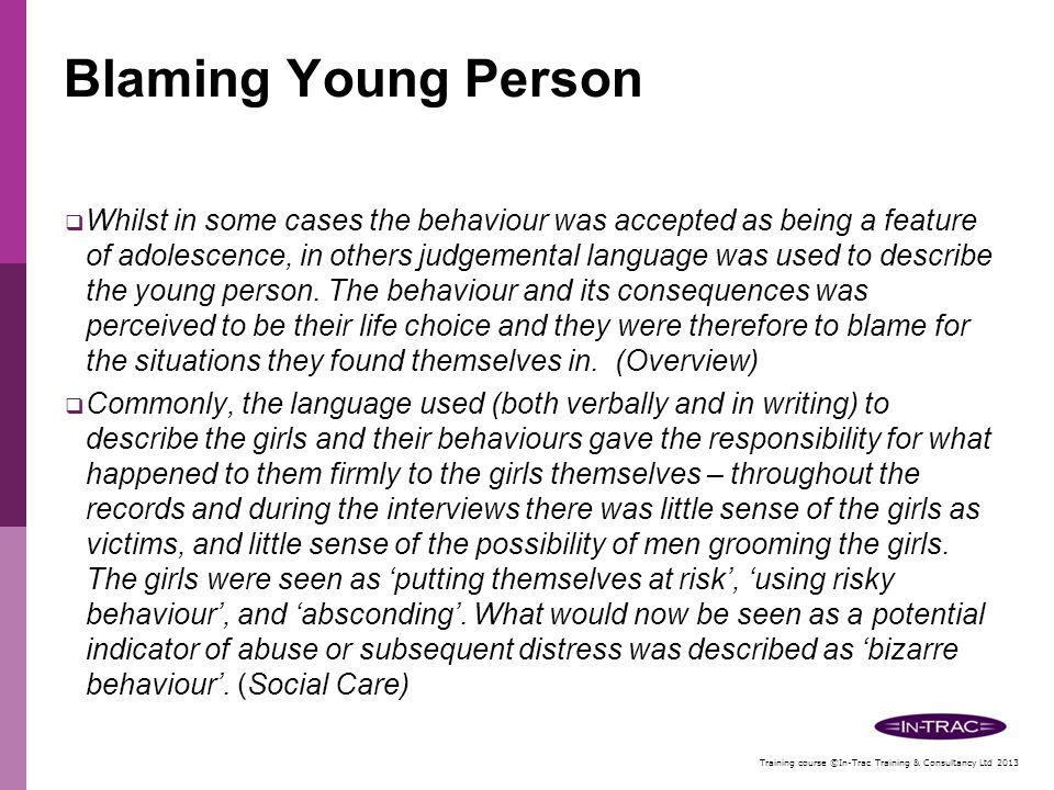 Blaming Young Person