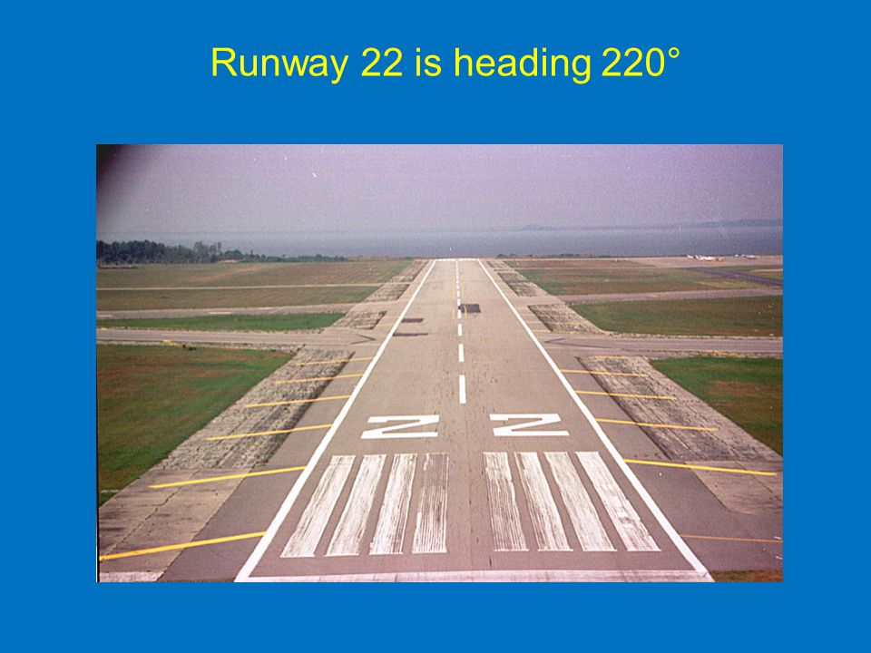 Runway 22 is heading 220° Stress 220 degrees magnetic –