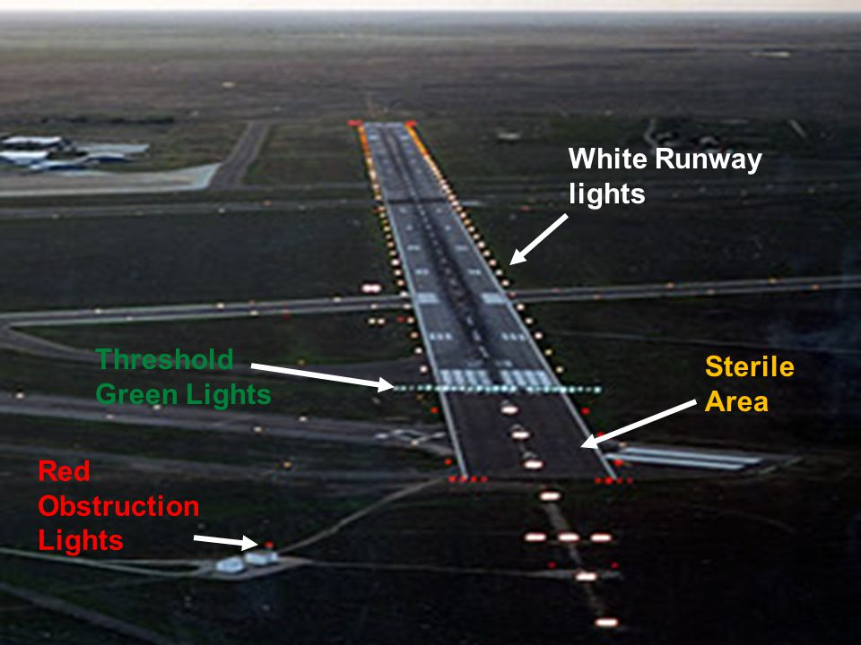 White Runway lights Threshold Green Lights Sterile Area Red Obstruction Lights