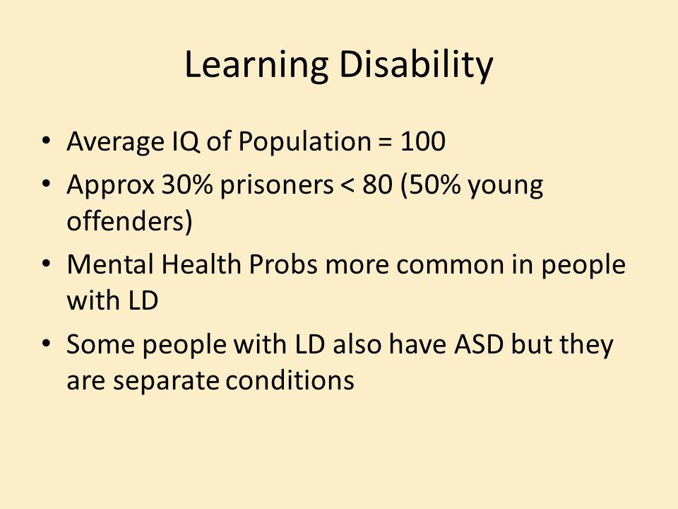 Learning Disability Average IQ of Population = 100