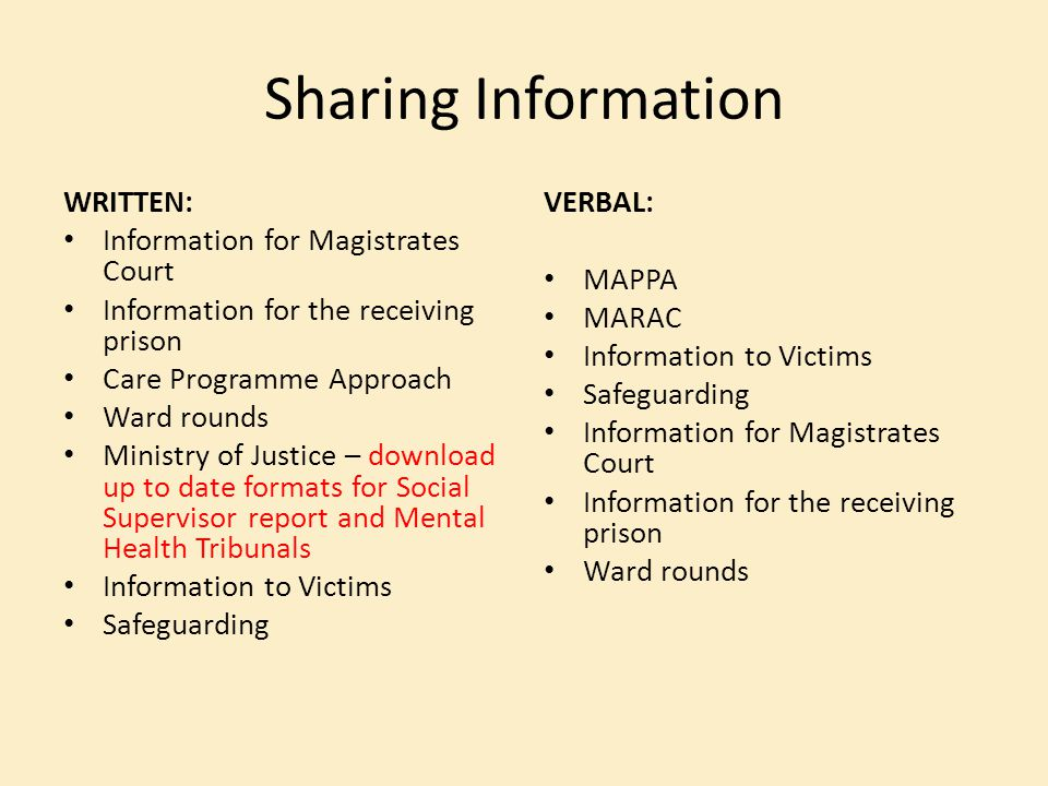 Sharing Information WRITTEN: Information for Magistrates Court