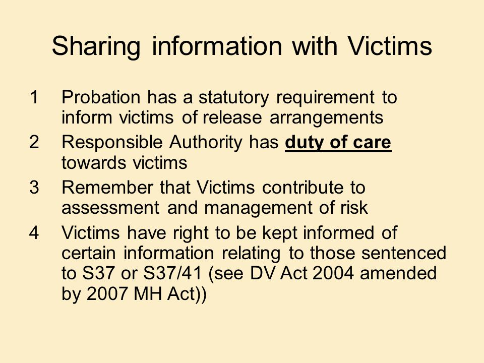 Sharing information with Victims