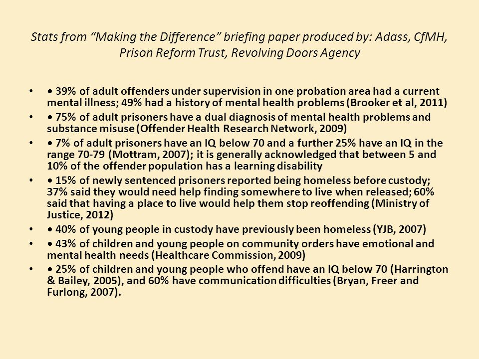 Stats from Making the Difference briefing paper produced by: Adass, CfMH, Prison Reform Trust, Revolving Doors Agency