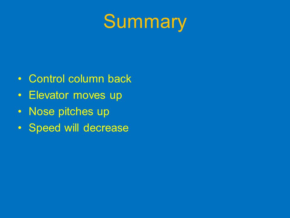 Summary Control column back Elevator moves up Nose pitches up