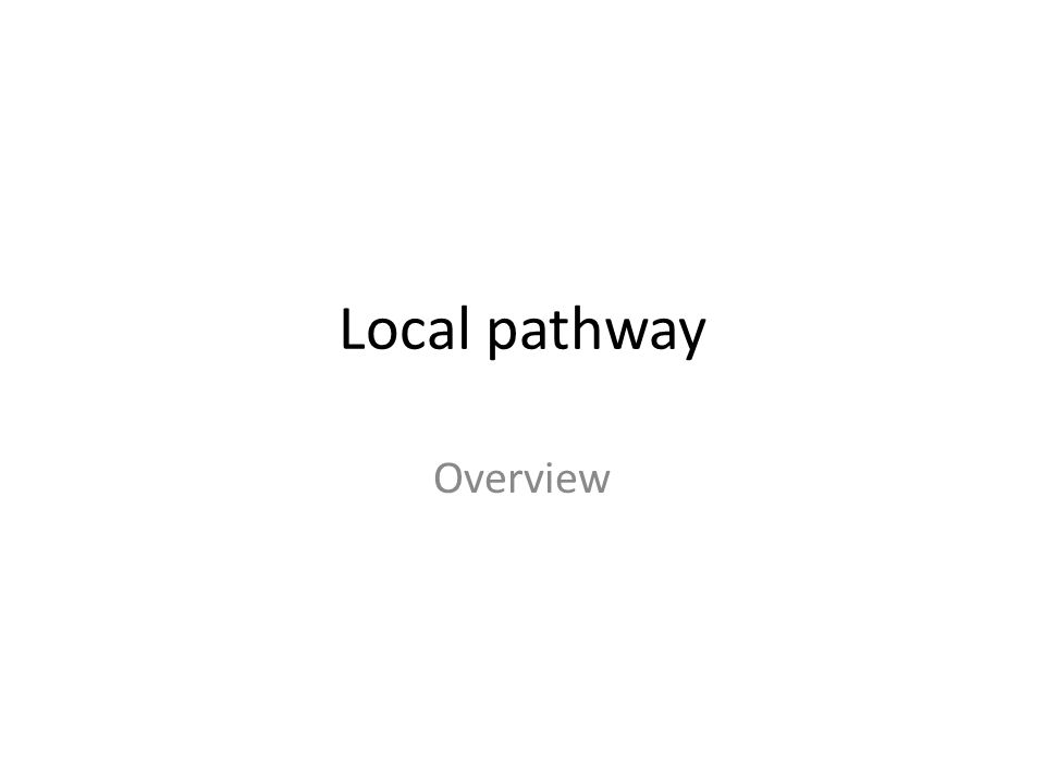 Local pathway Overview