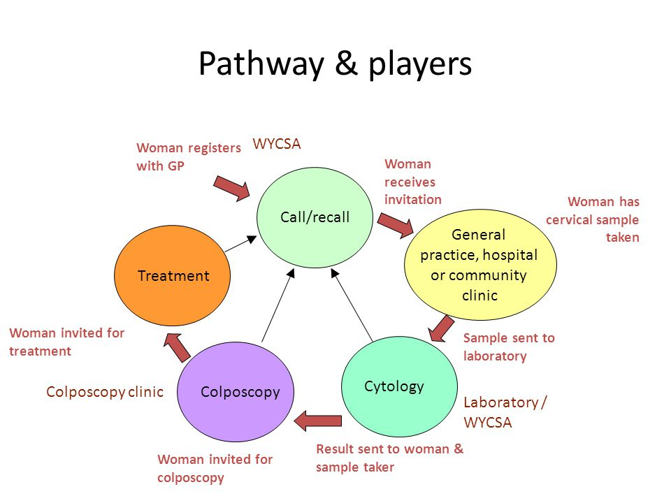 Pathway & players WYCSA Call/recall General practice, hospital