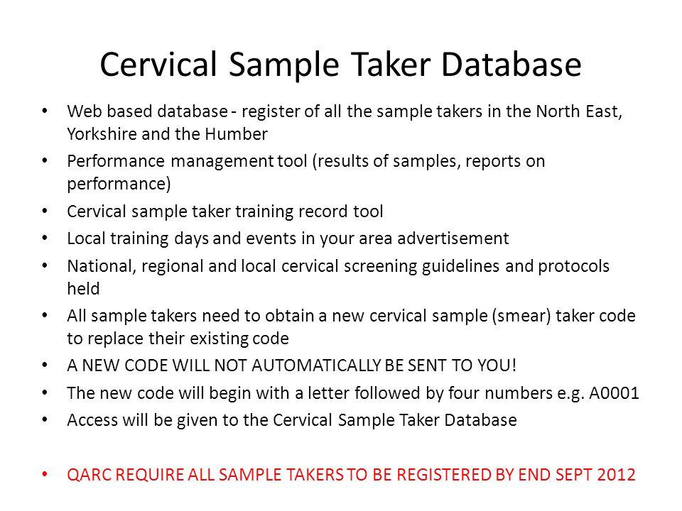 Cervical Sample Taker Database