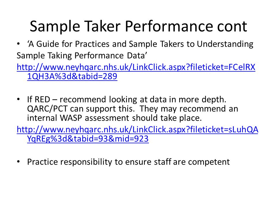 Sample Taker Performance cont