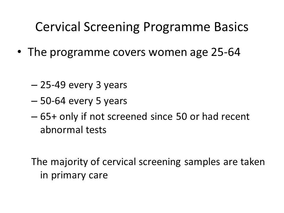 Cervical Screening Programme Basics