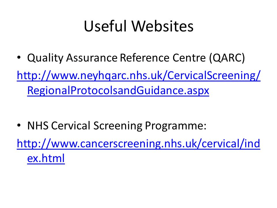 Useful Websites Quality Assurance Reference Centre (QARC)