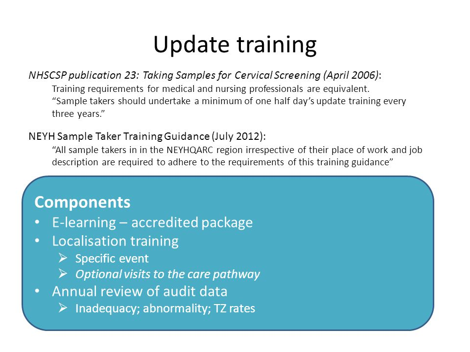 Update training Components E-learning – accredited package