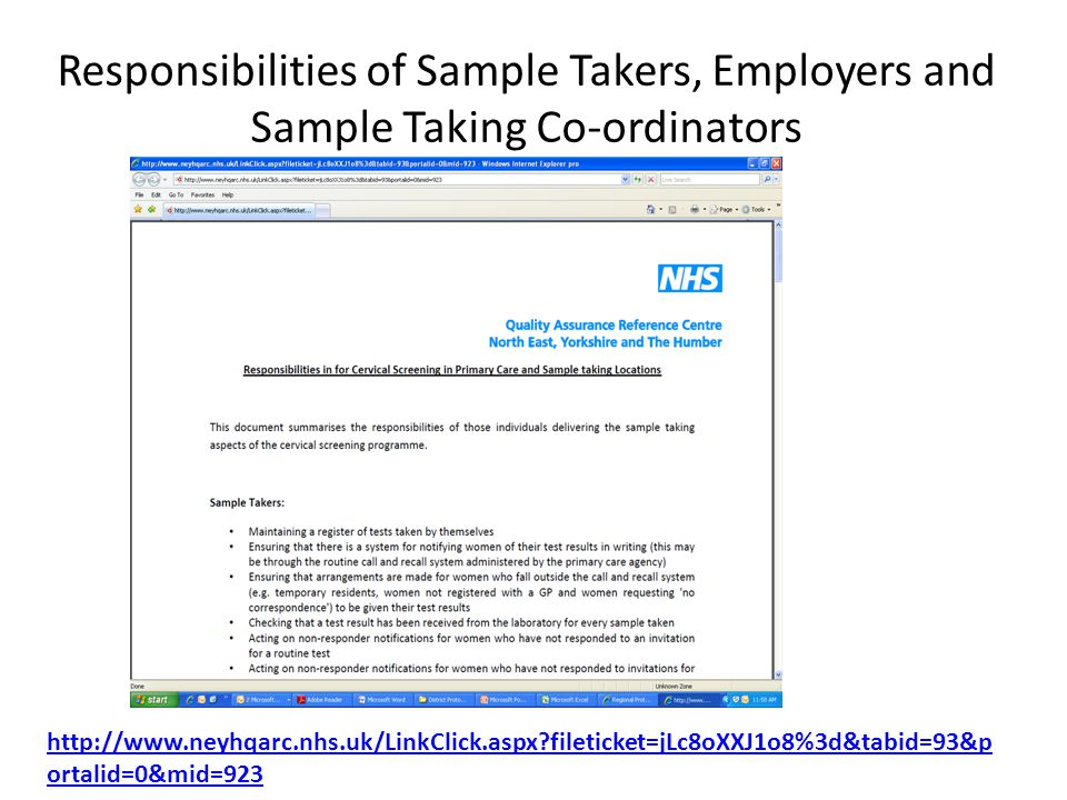 Responsibilities of Sample Takers, Employers and Sample Taking Co-ordinators