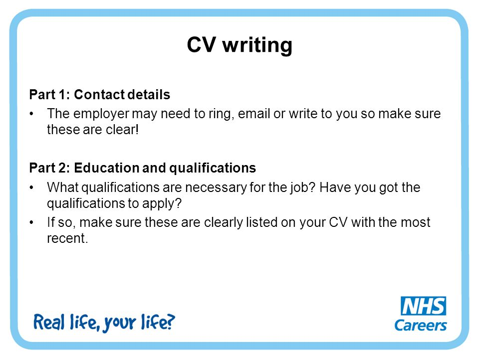 CV writing Part 1: Contact details