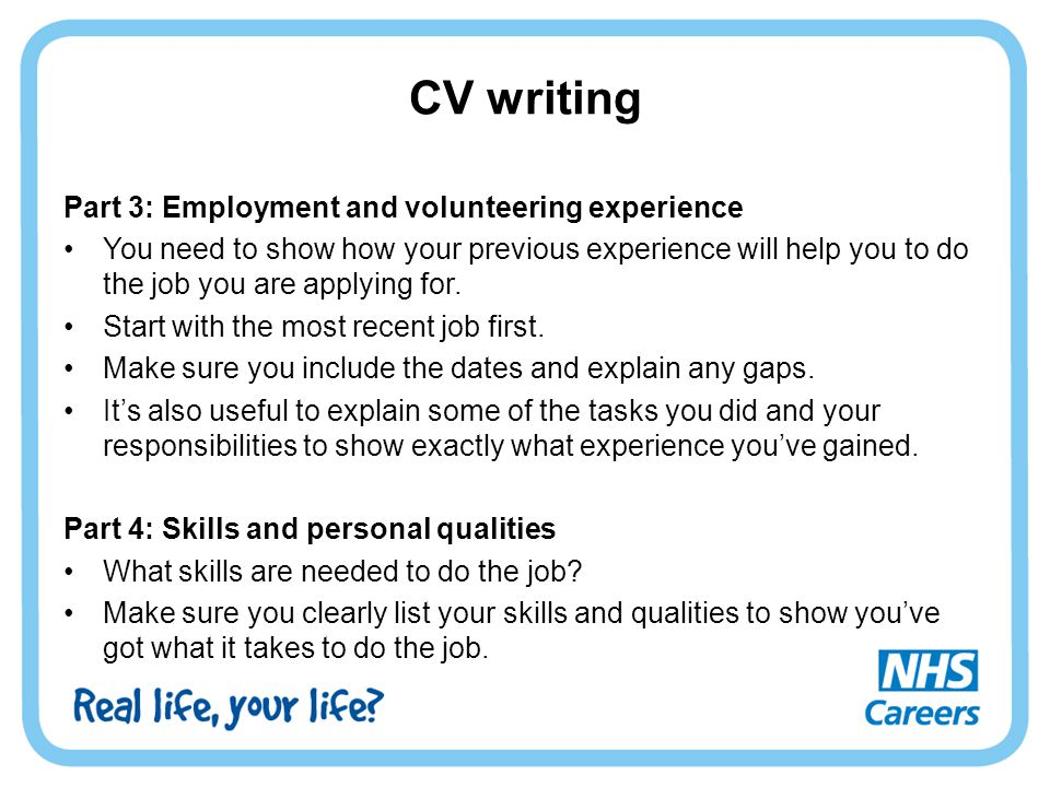 CV writing Part 3: Employment and volunteering experience