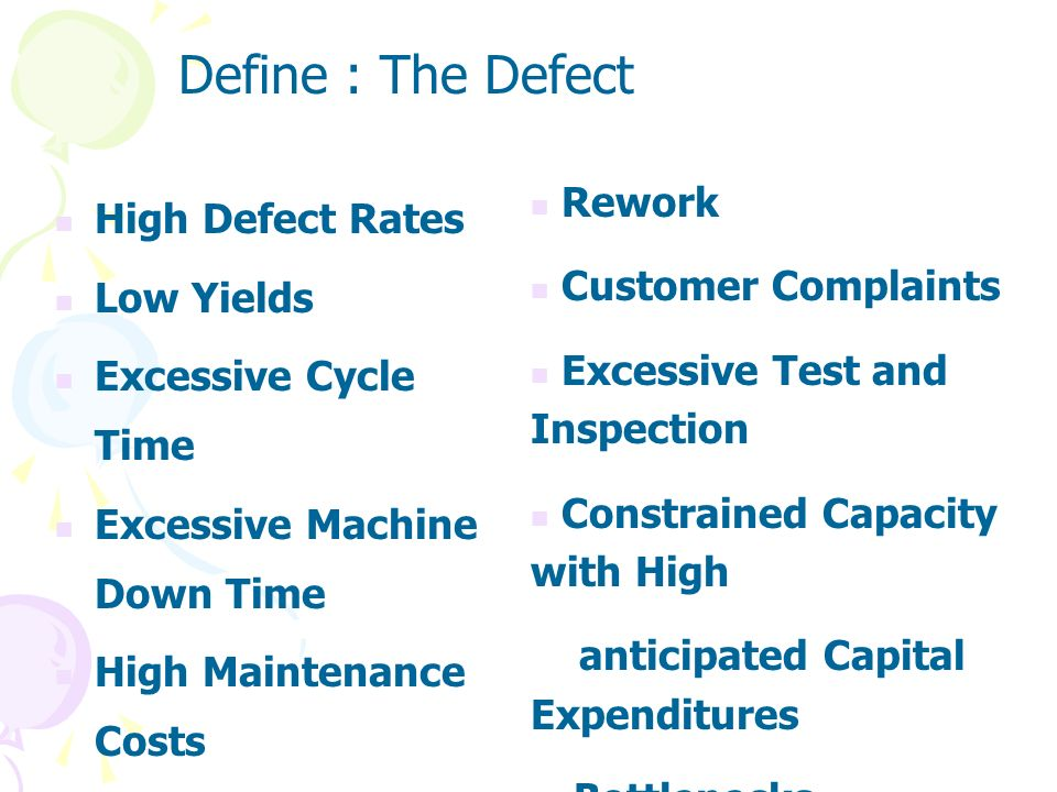 Define : The Defect Rework High Defect Rates Customer Complaints
