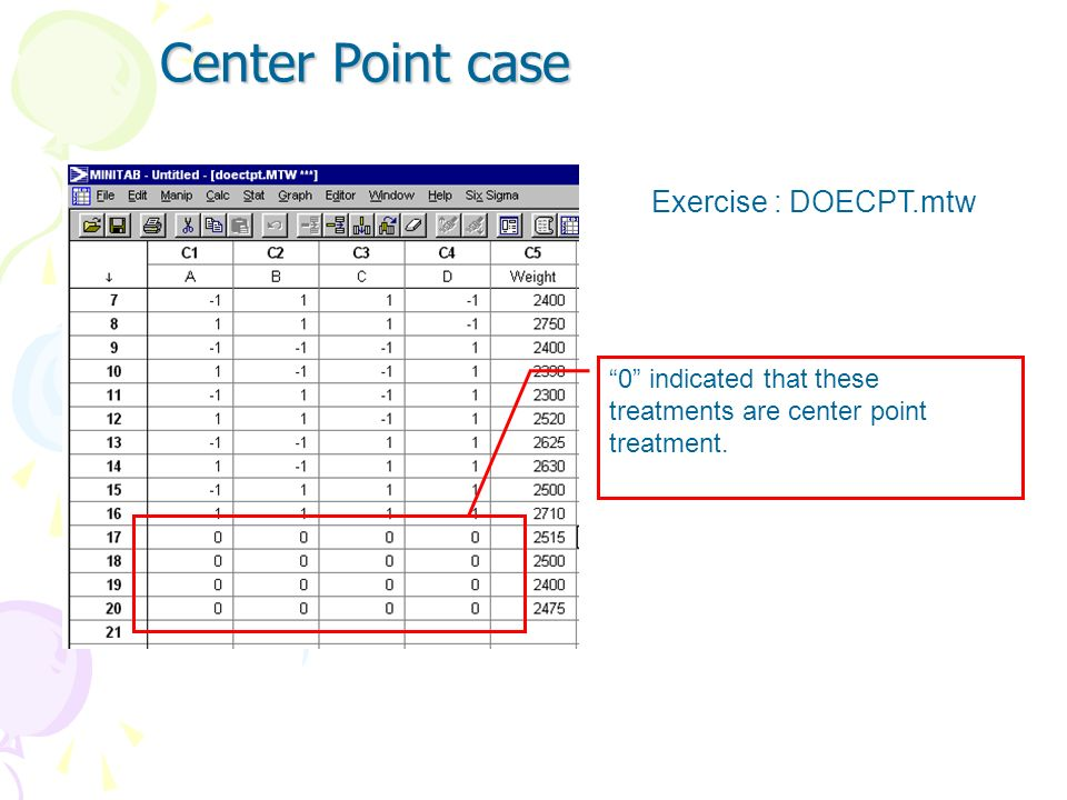 Center Point case Exercise : DOECPT.mtw