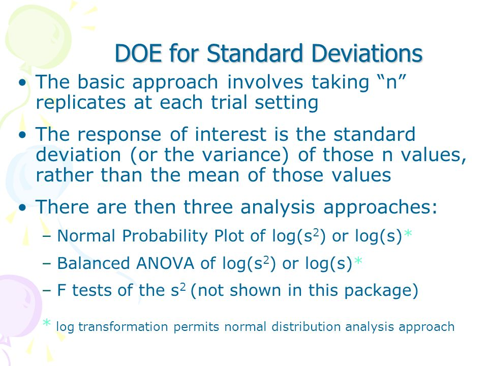 DOE for Standard Deviations
