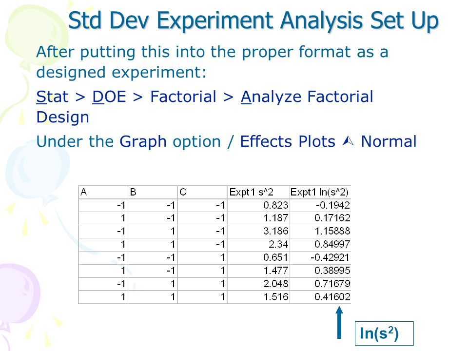 Std Dev Experiment Analysis Set Up