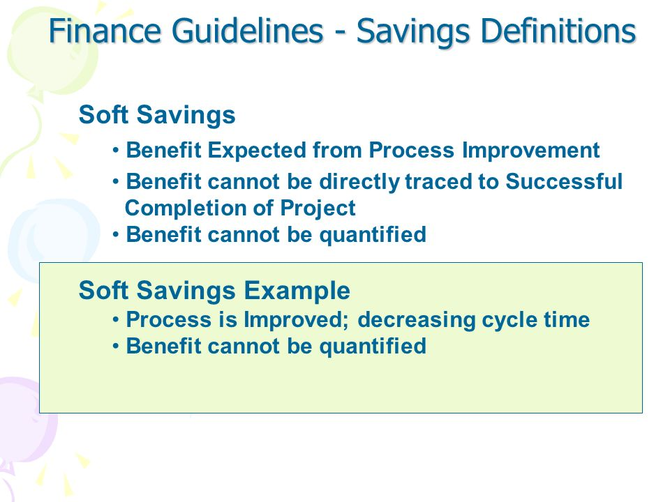 Finance Guidelines - Savings Definitions