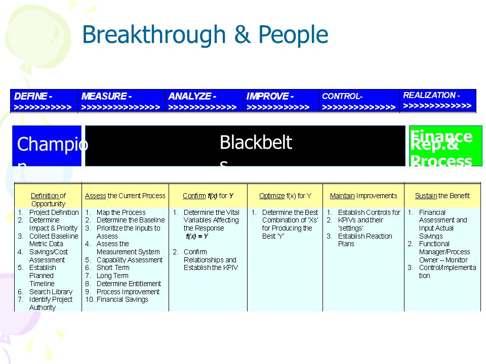 Breakthrough & People Champion Blackbelts Finance Rep.& Process Owner