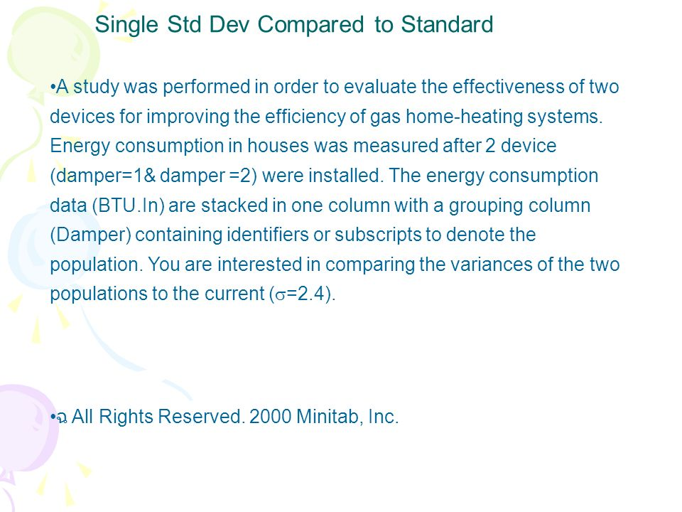 Single Std Dev Compared to Standard