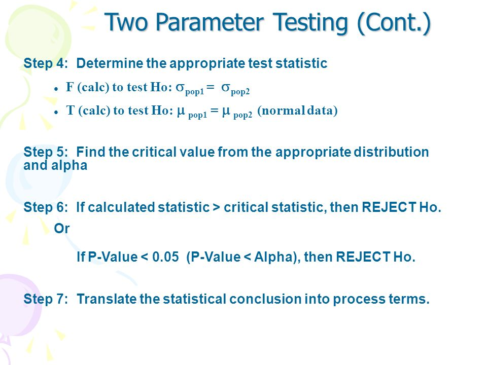 Two Parameter Testing (Cont.)