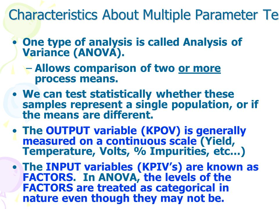 Characteristics About Multiple Parameter Testing