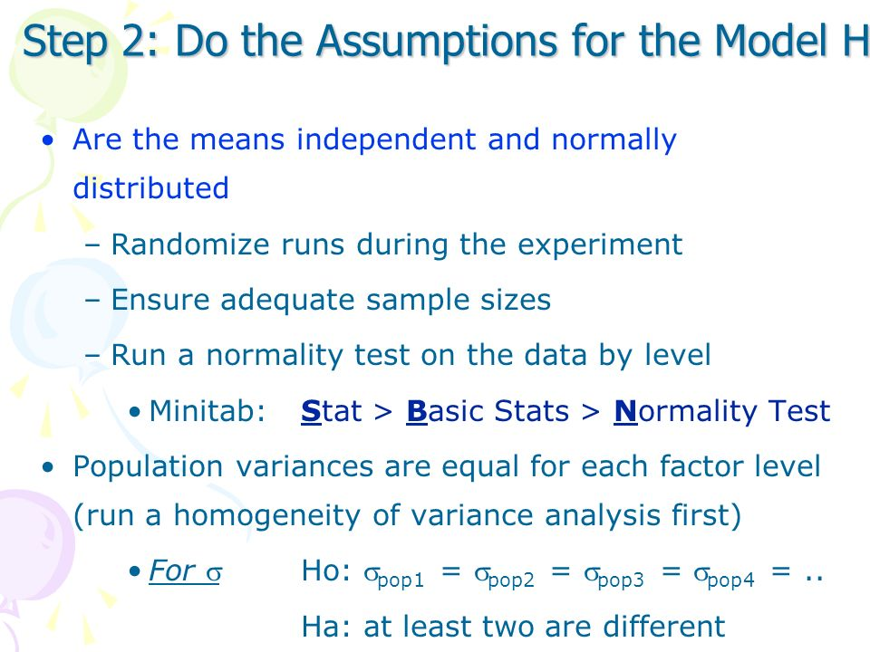 Step 2: Do the Assumptions for the Model Hold
