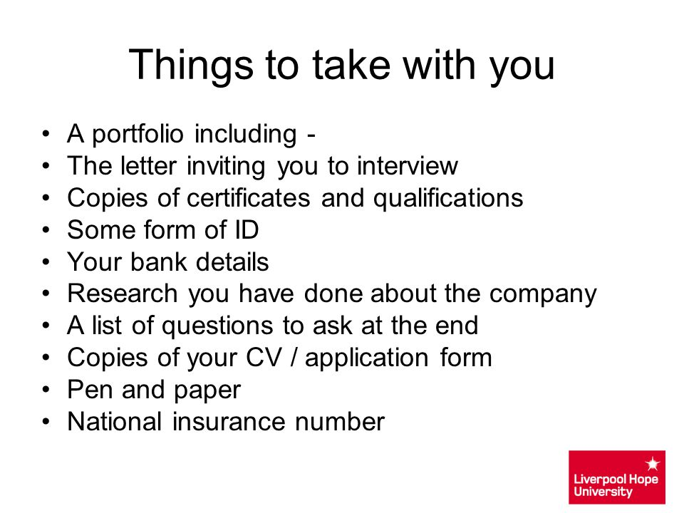 Things to take with you A portfolio including -