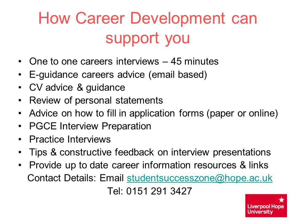 How Career Development can support you