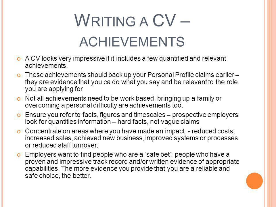 Writing a CV – achievements