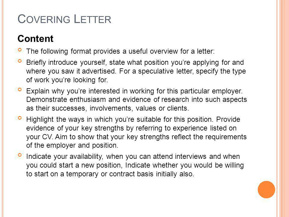 Covering Letter Content