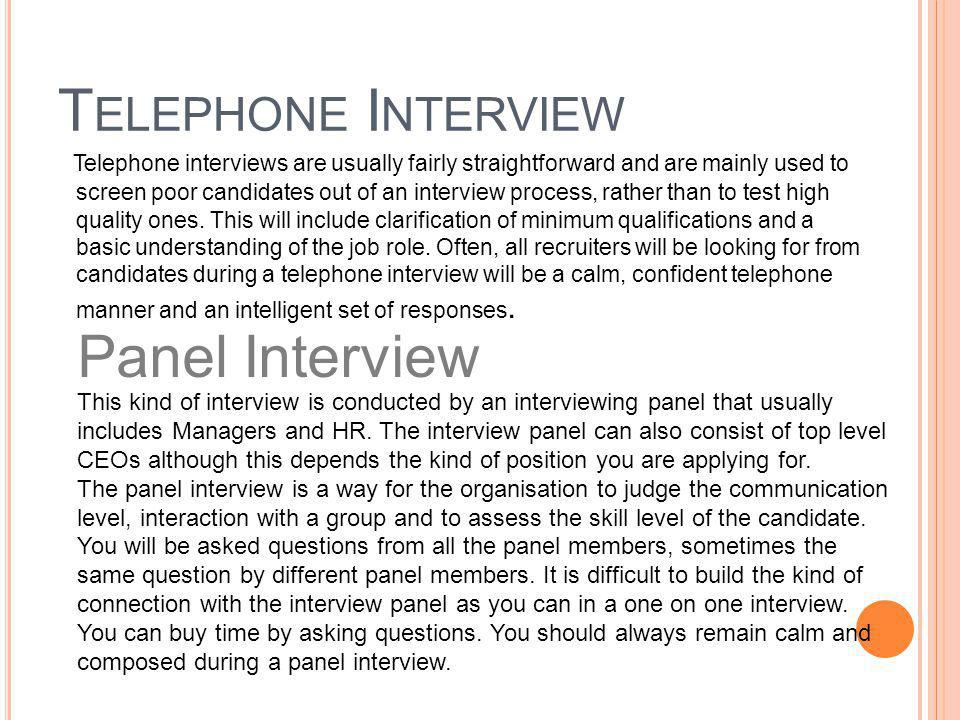 Telephone Interview Panel Interview