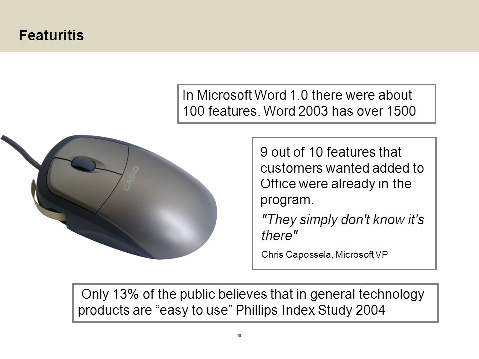 Featuritis In Microsoft Word 1.0 there were about 100 features. Word 2003 has over
