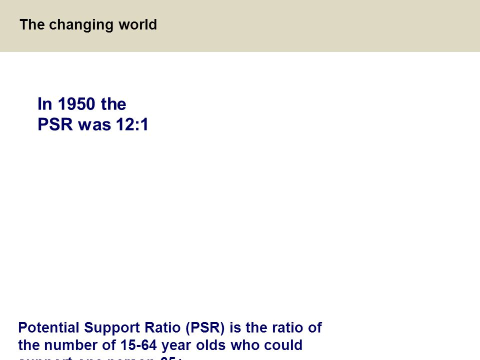 In 1950 the PSR was 12:1 The changing world