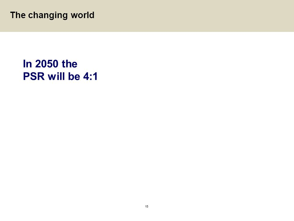 In 2050 the PSR will be 4:1 The changing world