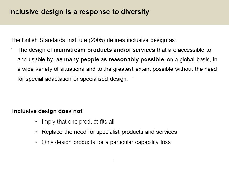 Inclusive design is a response to diversity