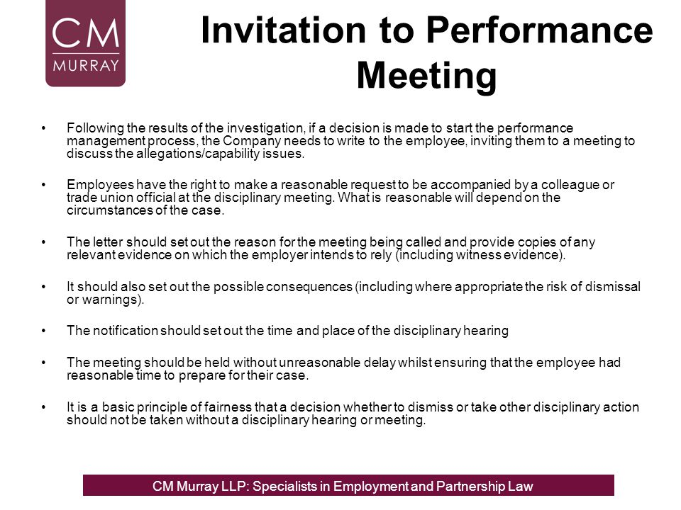 Invitation to Performance Meeting
