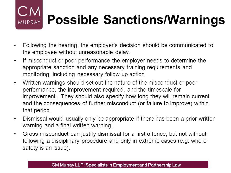 Possible Sanctions/Warnings