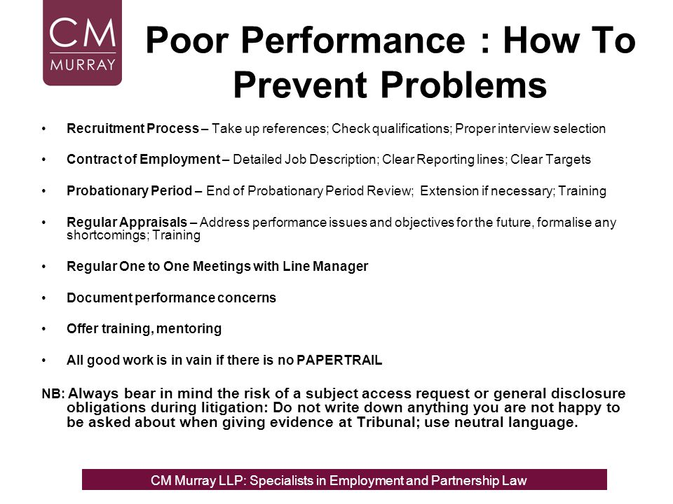 Poor Performance : How To Prevent Problems