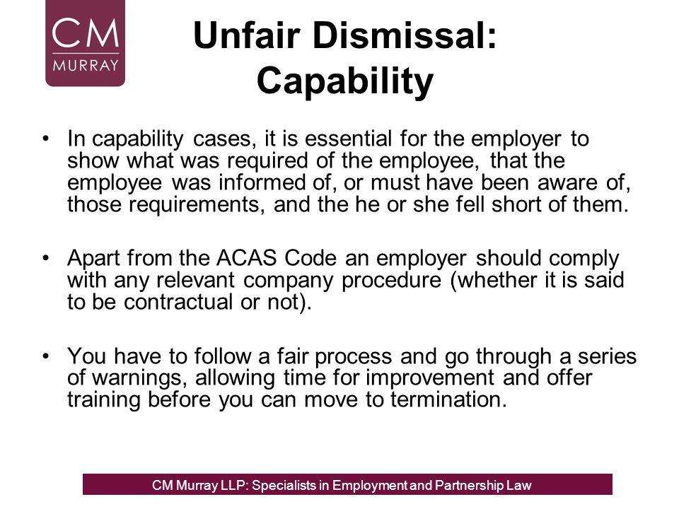Unfair Dismissal: Capability